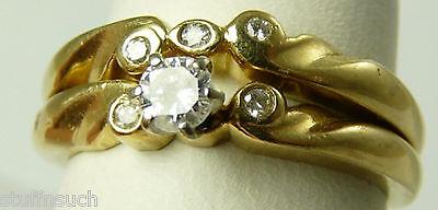 Diamond Engagement Wedding Ring Set Vintage 14K Gold  Size 4