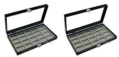Lot Of 2 Glass Top Grey 20 Space Display Cases Jewelry Lighters Lure Arrowheads