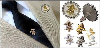 NEW Fleur de Lis Lapel Pin-Tie Tack-Tuxedo Shirt Stud-Diamonds 18K Gold-Silver - Fleur De Lis Silver Tie Pin