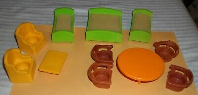 ***VINTAGE FISHER PRICE LITTLE PEOPLE PLAY FAMILY HOUSE FURNITURE LOT***