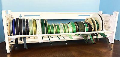NEW Ribbon Holder Storage Rack Organizer WHITE PLASTIC 1-Shelf MRH1  NO DOWELS