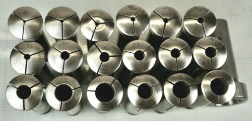 """Hendey Lathe Collets #2  Set of 18 ~  3/32 - 19/32""""  With Drawer Bar Adapter"""