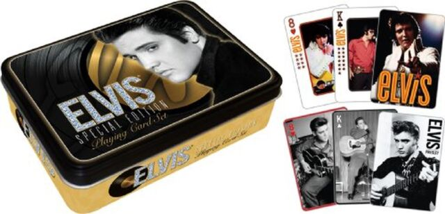 Elvis Presley Tin Box Gold with playing cards 2x52