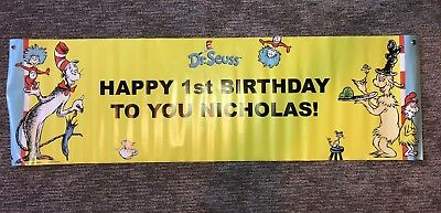 Dr Suess Happy First Birthday Nicholas Banner Cat In The Hat - Dr Suess Birthday Decorations