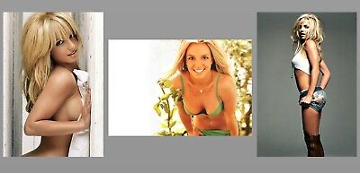 Britney Spears Hot PHOTO Lot,3 Gorgeous Sexy Perky Boobs Pin-up Girl Semi Nude