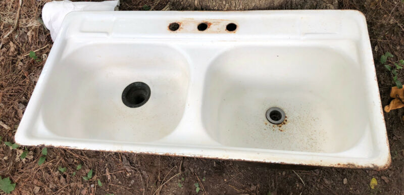 Vintage Kohler Porcelain/Cast Iron Double Kitchen Sink Farmhouse 1963 Laundry
