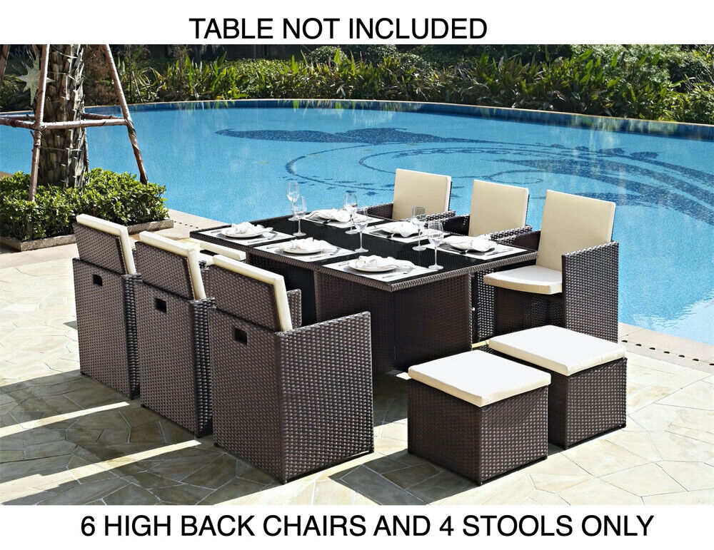 Garden Furniture - 6 Garden Furniture Dining Chairs and 4 Footstool Only PE Rattan New 10pc