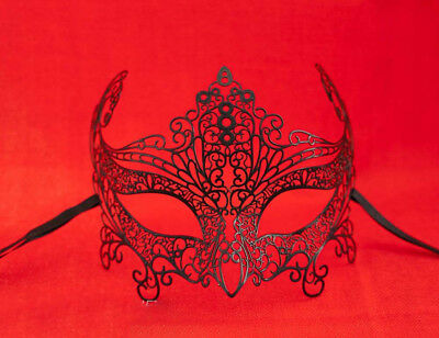 MASK LACE METAL FROM VENICE BUTTERFLY SHINY BLACK COSTUME PARTY 737