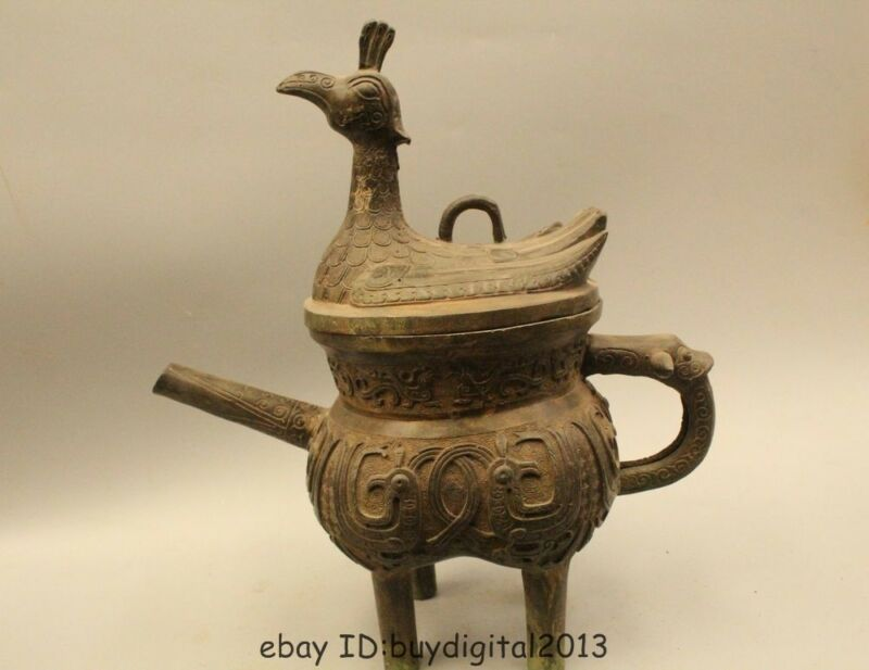 "15"" Chinese Pure Bronze Foo Dog lion Beast phoenix Bird Teapot kettle Bottle"