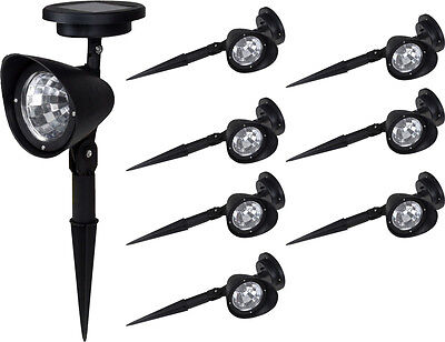 8pcs Solar Garden Spot Path Lighting Outdoor Lawn Landscape 4-LED Spotlight Lamp