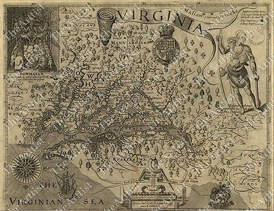 LARGE VINTAGE 1607 historic JOHN SMITH VIRGINIA MAP OLD ANTIQUE STYLE art print