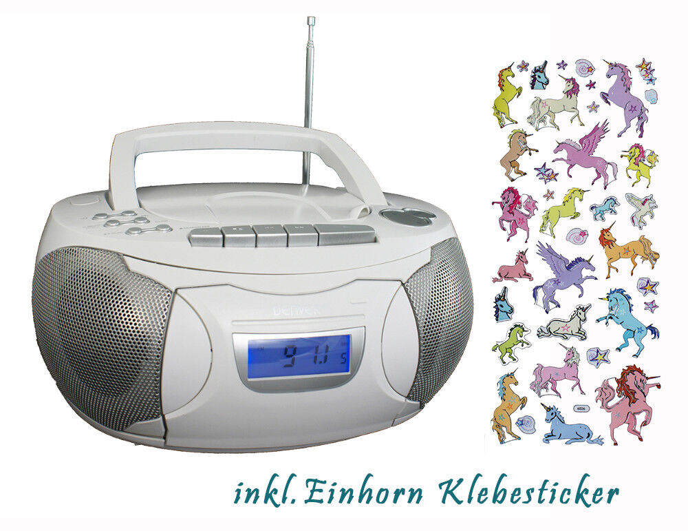 Kassettenrekorder Weiß & Einhorn Aufklebern CD Radio Boombox TCP-39