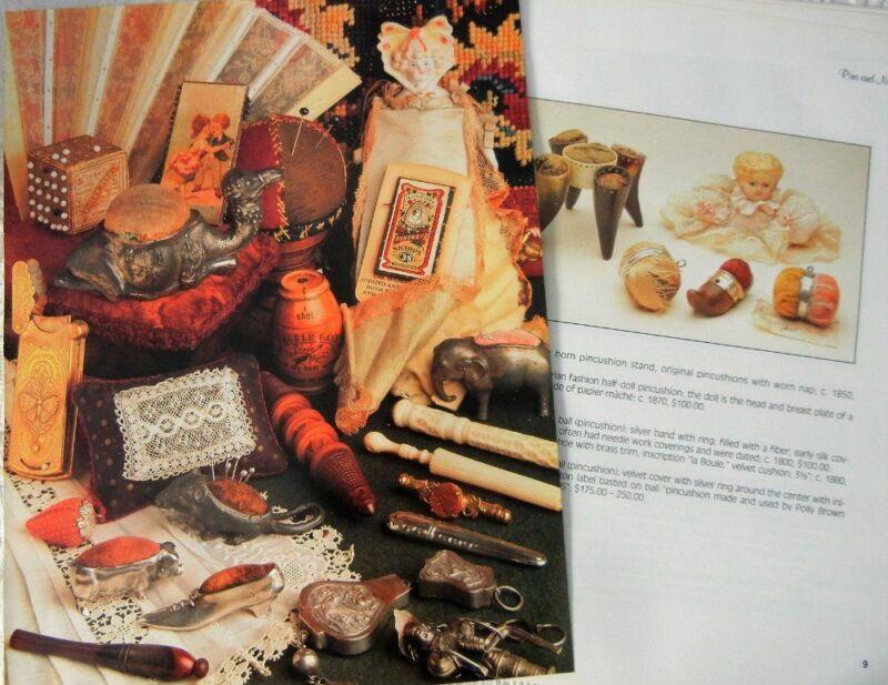 25p History Article + Pics - Antique Pins & Needles Cases Cushions Sewing Tools