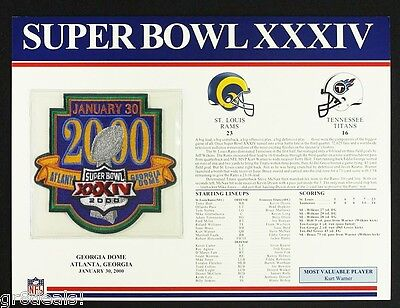 Super Bowl 34  Rams   Titans Willabee Ward Official Nfl Sb Xxxiv Patch Stat Card