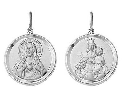 18k White Gold Scapular Round Medal Medium, 2,6 grams, Catholic