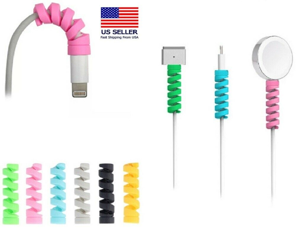 24 Ps Charging Cable Protector Soft Silicone Spiral Phone USB Charger Cord Saver Cable Ties & Organizers