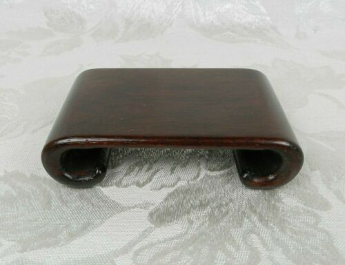 """Vtg Chinese Asian Display Base Rectangle Scroll Rosewood Riser Stand 4"""""""