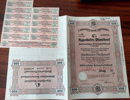 Germany 1942 Munich Boden Creditbank Nazi 500 Reichsmark NOT CANCELLED Bond Loan