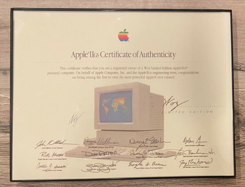 Vintage Apple IIGS Certificate of Authenticity from WOZ Limited Edition GS 1980s