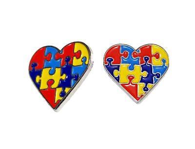2 Pack Autism Awareness Heart Puzzle Pieces Lapel Hat Pins Raise Awareness 7302](Blue Puzzle Piece Lapel Pin)