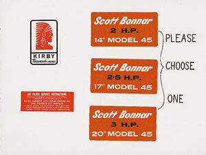 Scott Bonnar 45 Kirby Tecumseh Vintage Mower Engine Decal