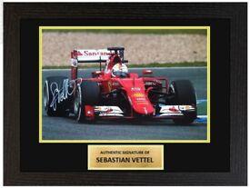 Sebastian Vettel Scuderia Ferrari F1 Framed 12x8 Signed Photo Display COA