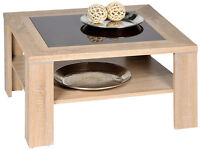 New Coffee Table - Sonoma Oak Wood with Brown Glass