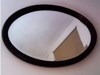TRULY LOVELY ORIGINAL STURDY REAL GOOD QUALITY DARK WOOD OVAL MIRROR