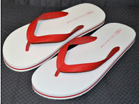 MENS M&S FLIP FLOPS / BEACH SANDLES - SIZE L 10 - 11 - WHITE / RED