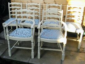 Six gorgeous chairs. Shabby chic.