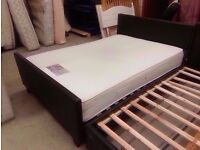 Leather bed frame with Times Beds memory foam pocket spring mattress