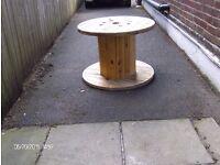 large cable drums suit garden table