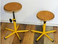 14 Available Yellow Kitchen Lab School Stools bar Industrial Metal Chairs Vintage Stacking Retro
