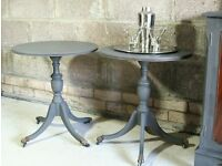 GRAPHITE CIRCULAR WINE TABLES WITH ANTIQUE CLAW FEET & CASTORS