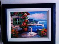 ORIGINAL LOVELY REAL OIL PAINTING ON SMALL BLUE WOOD FRAMED CANVAS SIGN BY THE ARTIST, PHOTO, PRINT
