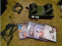 Sony Playstation 2, all cables, 2 x control pads, 4 x games