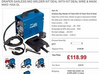 Draper 32728 Gasless Mig Welder Kit Deal With Kit Deal Wire & Mask