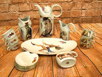 Porzellan Kaffeeservice Teeservice 17tlg. Geschirr Küche Teeset Teekanne Chai