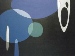 "Oakville 36X48"" Large Abstract Painting Atomic Planets Floating Shapes black blue green Original Art Koudelka"
