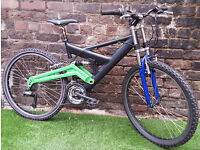 "Adults DOWNHILL MTB, 18"" Alloy Frame, 21 Speed, Susp, Bike GC! FULLY SERVICED"