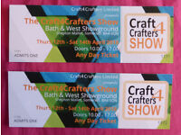 2 Tickets to The Craft4Crafters Show at Bath & West Showground, Shepton Mallet, Somerset, April