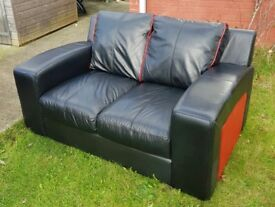 Black & Red Italian Leather 2Seater Sofa