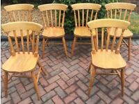 6 SPINDLE BACK DINING CHAIRS