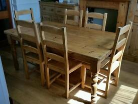 Antique pine table complete with six chairs