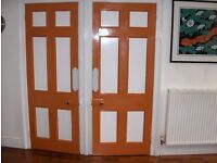 Vintage/Victorian 6 Panel, painted kitchen doors, 4 available, varying dimensions. Good Condition.