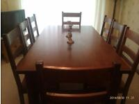 Re-advertised 11/09/2016. Reduced for quick SALE. Exceptional Solid Indian wood Table & Eight chairs