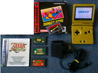 Nintendo Gameboy Advance Gold with 4 games (inc Zelda Minish Cap and Donkey Kong) RETRO Game Boy