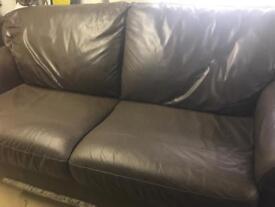 2 x 3 Seater Brown Leather Sofa
