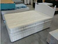 Double bed with four drawers, Slumberland mattress and painted white pine headboard