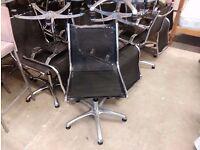 Black net chromed metal office chairs, plenty available